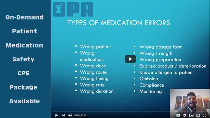 Patient/Medication Safety CPE Available On-Demand